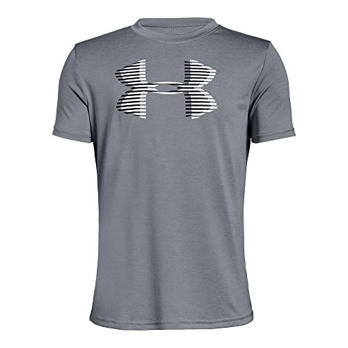 Under Armour Boys' Tech Big Logo Printed T-Shirt, Steel (035)/Black, Youth Medium ()