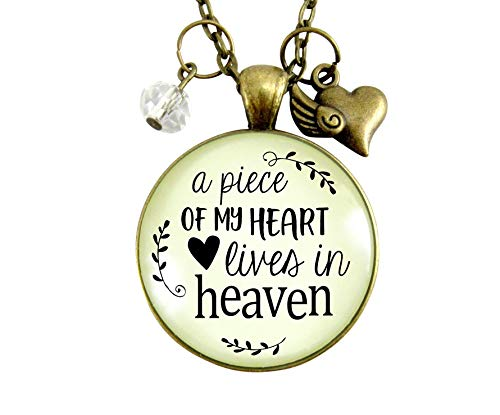 "24"" Memorial Necklace A Piece Of My Heart Lives In Heaven Remembrance Pendant Keepsake Jewelry Heart Angel Wing Charm"