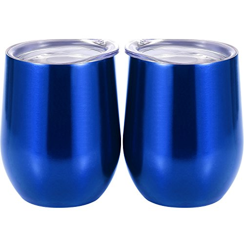 Skylety 12 oz Double-insulated Stemless Glass, Stainless Steel Tumbler Cup with Lids for Wine, Coffee, Drinks, Champagne, Cocktails, 2 Pieces (Transparent Blue)