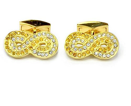 PDMAN England Lucky 8 Infinity Yellow and White Swarovski Crystal Cufflinks Cuff Links with Gift (Gemstone Yellow Cufflinks)