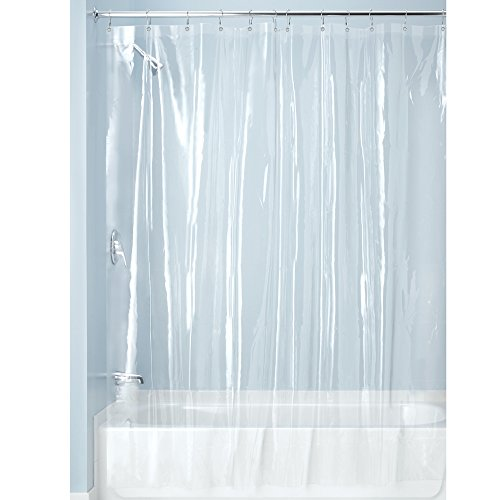 InterDesign Vinyl 4.8 Gauge Shower Liner with 12 Shower Hooks, X-Long 72 x 96, Clear