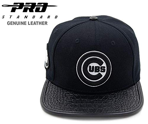 PRO-STANDARD Chicago Cubs Black/White Premium Leather 3M Reflective Flex Strap Cap