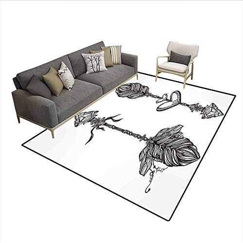 Carpet,Monochrome Native American Heart Motif with Arrows Tattoo Art Composition,Non Slip Rug Pad,Black and White 6'6