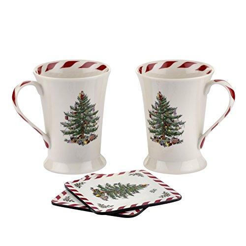 (Spode Christmas Tree Peppermint Mug and Coaster,  Set of)