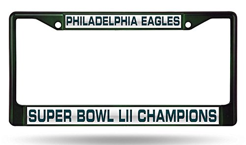 Rico Industries, Inc. Philadelphia Eagles Champions RICO LASER FRAME Chrome Metal License Plate Tag Cover Football Super ()