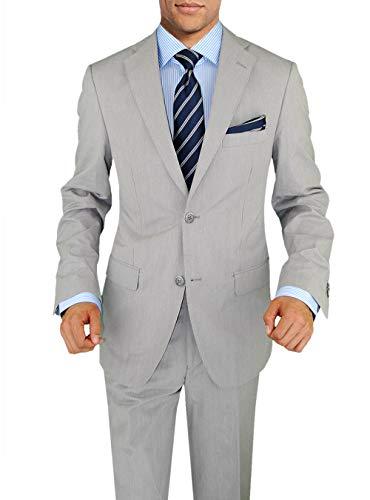 DTI BB Signature Italian Two Button Men's Suit Trim Fit Side Vent Jacket Stripe (40 Short US / 50S EU/W 34