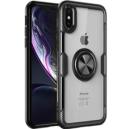 iPhone Xs Max Case,WATACHE Clear Crystal Carbon Fiber Design Armor Protective Case with 360 Degree Rotating Finger Ring Grip Holde Stand [Magnetic Car Mount Feature] for iPhone Xs - Case Fiber Style Crystal Carbon