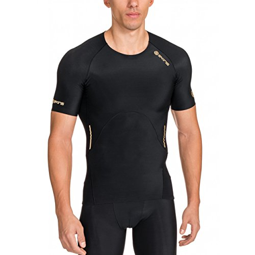 Skins Men's A400 Short Sleeve Compression Top, Black, Small by Skins (Image #1)