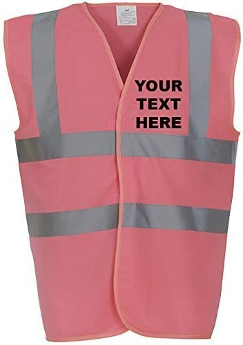 MYOG /© Personalised Premium High Visibility Vest Hi Viz Safety Waistcoat 36//38 10 Colours S Sizes S-3XL , Red PRINT FRONT /& BACK