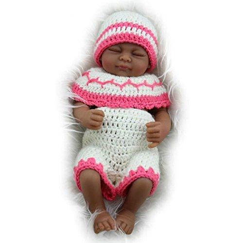 "Search : TERABITHIA Mini 11"" Black Cute Truly Newborn African American Baby Dolls Silicone Full Body Washable for Girl"