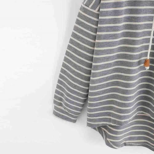 Camicetta Lunga Sweatshirts Felpa Cappuccio Ragazze Primaverile Chic Ragazza Baggy Hoody Asimmetrico Fashion Hoodie Autunno Donna Grau Stripe Manica Con Casual Pullover zqCxUzfw
