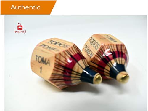 Alondras Imports (TM) Uniquely Designed, Classic Wood Spinning Top Game (Pirinola Toma Todo - Artesania De Madera) Unique Assorted Color at Tip - Premium Quality Finish - Complete Set of 2