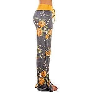 iChunhua Women's Comfy Stretch Floral Print Drawstring Palazzo Wide Leg Lounge Pant