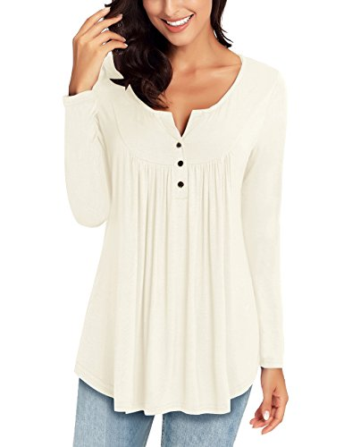 LookbookStore Women's Beige Long Sleeve Henley V Neck Ruched Shirt Button Tunic Tops Blouse L(US -