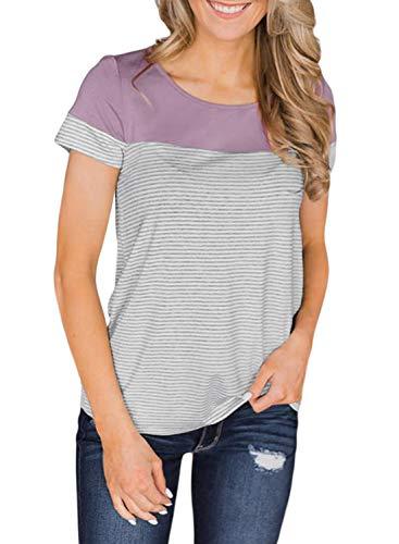 Ecrocoo Women's Short Sleeve Round Neck Color Block Stripe T-Shirt Casual Blouse Tops for Leggings for Women Purple XL