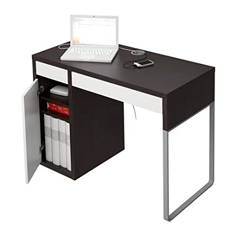 Amazon.com: Ikea Micke Desk Black Brown White: Kitchen & Dining