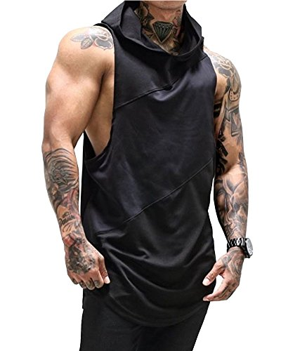 Huiyuzhi Mens Workout Fitness Gym Tank Top Sleeveless Hoodies with Pocket (L, A Black)
