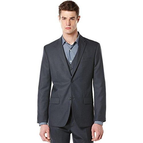 Perry Ellis Men's Big-Tall Big and Tall Textured Fabric Suit Jacket, Navy, 48 Regular