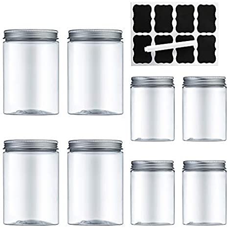 MEIXI 8 Pieza Transparente Botes Cocina, Recipientes Slime, Contenedor Alimentos, Tarro Plastico con Tapa de Metal Atornillable (3.6L)