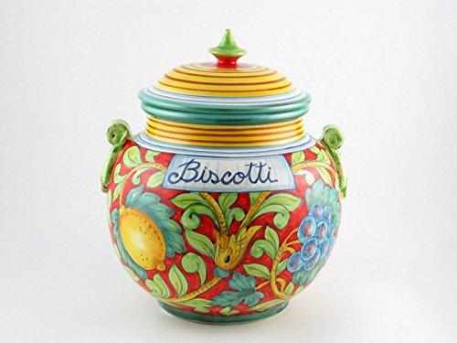 - Italian Ceramic 9-inch Biscotti Cookie Jar, Handmade in Tuscany