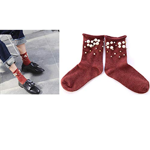 Women Girls Socks Ankle High Socks Pearl Bead Short Socks Warm Winter Socks (Red)