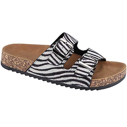 CLOVERLY Comfort Low Easy Slip On Sandal - Casual Cork Footbed Platform Sandal Flat - Trendy Open Toe Slide Sandal Shoes (10 M US, Zebra)]()