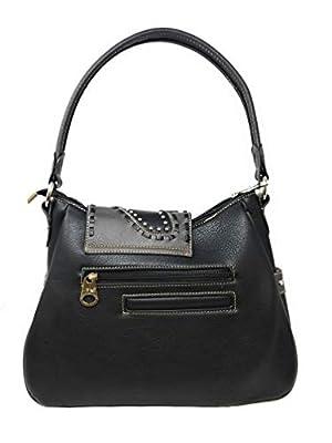 Montana West Ladies Shoulder Bag Purse Turquoise Rhinestones Leather Fringe Black