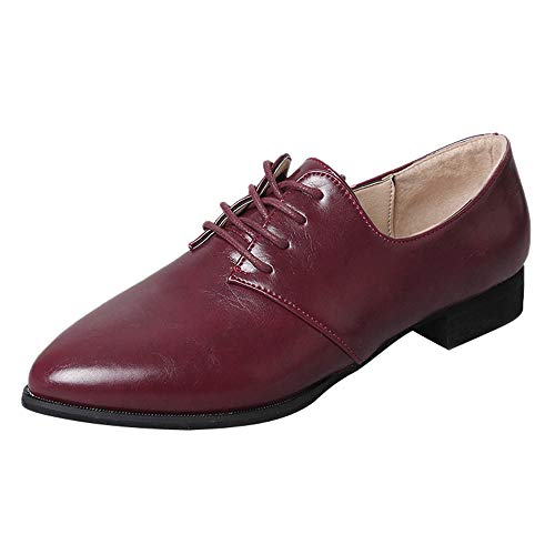 Creazrise Women's Perforated Lace-up Wingtip Pure Color Leather Flat Oxfords Vintage Oxford Shoes (Brown,7) by Creazrise Womens Shoes