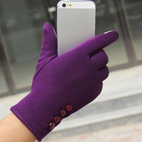 Guantes calientes para Mujeres,Ouneed ® Deporte al aire libre de moda para mujer invierno mantenga cálido guantes de conducción Púrpura