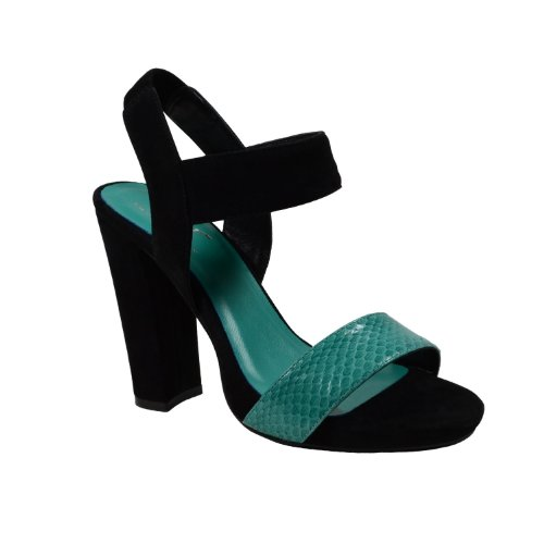 Waooh - Chaussures - Sandale cuir serpent compensée The Divine Factory TDFC549 - Turquoise