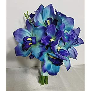 Peacock Large Orchid Bridal Wedding Bouquet & Boutonniere 101