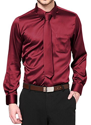 Burgundy Satin Dress Shirt with Neck Tie and Hanky Kids to Youth Sizes (Youth 16)