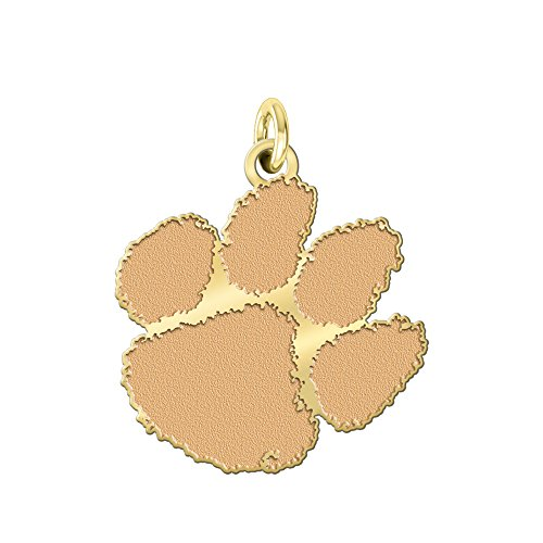 College Jewelry Clemson Tigers Solid 14K Yellow Gold Natural Finish Cut Out Logo Charm (3/4
