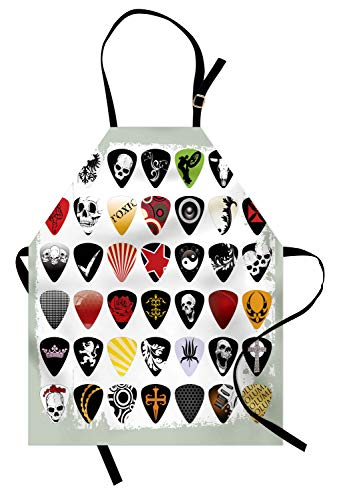 Ambesonne Rock Music Apron, Guitar Picks Various Designs Skulls Crosses Stripes and Stars Rockstar Lifestyle, Unisex Kitchen Bib Apron with Adjustable Neck for Cooking Baking Gardening, Multicolor]()