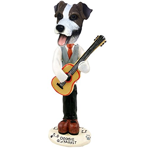 Brown and White Jack Russell Guitarist Doogie Collectible Figurine