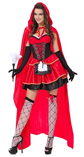Lusiya Women's Sexy Little Red Riding Hood Fairy Tale Plus Size Costume Red X-Large