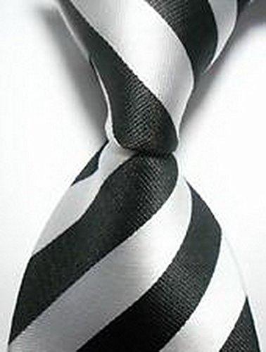 [Calvinci - Classic Striped Black White JACQUARD WOVEN 100% Silk Men's Tie Necktie TGIN 120114] (Classic Playboy Bunny Costume Black)