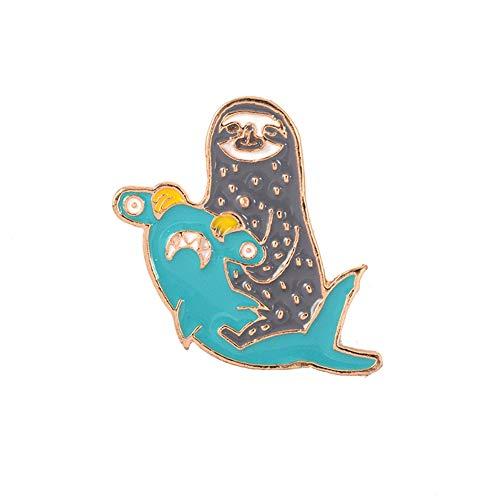 - ink2055 Cute Hammerhead Shark Sloth Enamel Brooch Pin for Scarf Lapel Denim Bag Badge Clothes Decor Jewelry Accessories - Blue