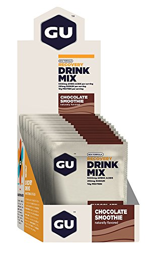 GU Energy Recovery Protein Drink Mix, Chocolate Smoothie, 12 Packets