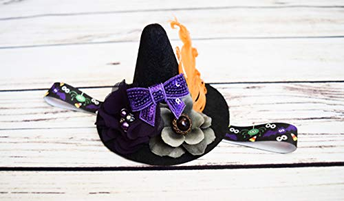 Mini Witch Hat Headband - Baby Witch Costume - Black Purple Gray Orange - Spider Headband - Toddler Witch Headband -Cute Witch Hat Headband