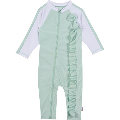 4ff7e9f874f64 Galleon - SwimZip Baby Girl Long Sleeve Sunsuit With UPF 50+,Mint  Chip,18-24 Months