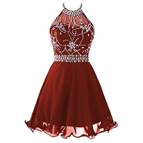 Topdress Womens Short Beaded Prom Dress Halter Homecoming Dress Backless Rust Red US 6