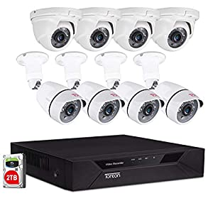 Tonton 8CH Full HD 1080P Security Camera System Wired, 5-in-1 DVR Video Recorder with 4PCS Outdoor Indoor Bullet Cameras…