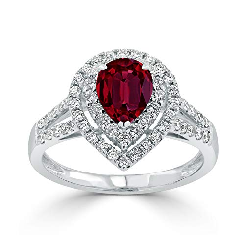 Diamond Wish 18k White Gold 1 1/3ct Ruby and 5/8ct TDW Diamond Halo Engagement Ring, Size 8