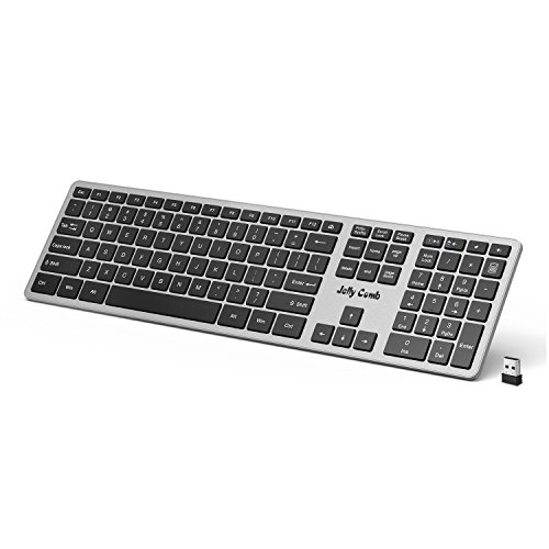 Wireless Keyboard — Jelly Comb 2.4G Wireless Keyboard K057 Full Size Keyboard with Number Pad for Windows Computers PC Laptop Desktop-(Black and Silver)