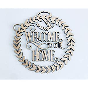 12-20 inch Welcome to Our Home Front Door Sign Wreath. Front Door Decoration. Great Housewarming Gift, Welcome to our Home Wall Sign, Wall Decorations, Front Door Accessory, Couple's Gift Idea 41