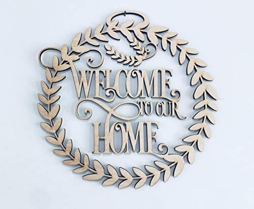 12-20 inch Welcome to Our Home Front Door Sign Wreath. Front Door Decoration. Great Housewarming Gift, Welcome to our Home Wall Sign, Wall Decorations, Front Door Accessory, Couple's Gift Idea]()