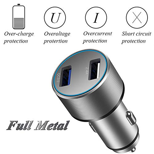 Car Charger, Aluminum Alloy 39W Dual USB Car Charger Quick Charger QC3.0+2.4V, Compatible with Samsung Galaxy Note 8 / S9 / S8 / S8 Plus / S7, Compatible with iPhone X / 8/8 Plus iPad Pro