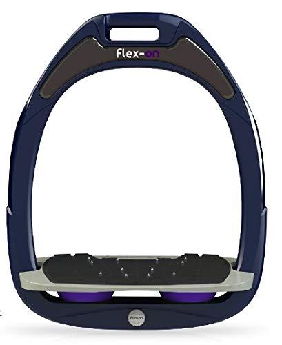 【 限定】フレクソン(Flex-On) 鐙 ガンマセーフオン GAMME SAFE-ON Mixed ultra-grip フレームカラー: ネイビー フットベッドカラー: グレー エラストマー: パープル 08009   B07KMFMWJV