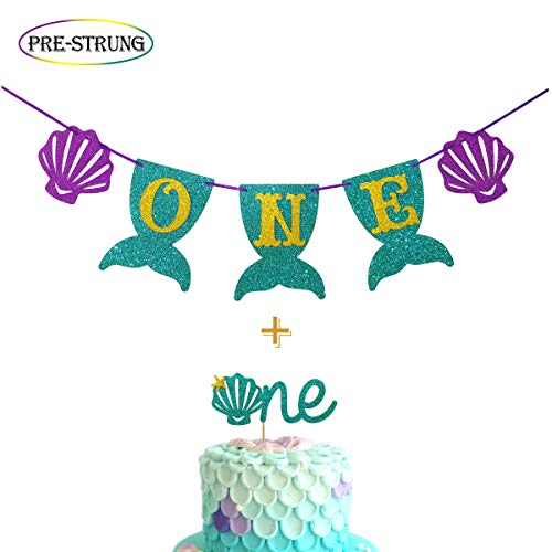 Mermaid Smash Cake Kit First Birthday Mermaid One Banner Highchair Banner with Teal Glitter Mermaid One Cake Topper for Birthday Supplies Decorations]()